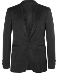 Burberry Black Slim Fit Faille Trimmed Cotton Blend Tuxedo Jacket
