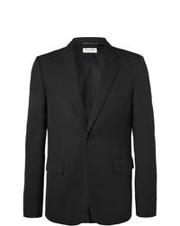 Saint Laurent Black Slim Fit Virgin Wool Jacquard Suit Jacket