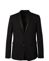 Fendi Black Slim Fit Woven Suit Jacket