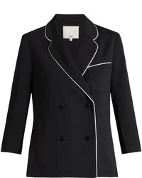 Tibi Contrast Seam Double Breasted Blazer