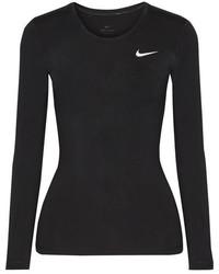 Nike Pro Cool Mesh Paneled Dri Fit Stretch Jersey Top Black