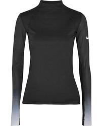 Nike Pro Hyperwarm Mesh Paneled Cotton Blend Jersey Top Black