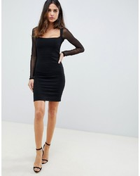 ASOS DESIGN Bandage Mini Bodycon Dress With Mesh Sleeves