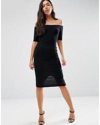 Asos Bardot Bodycon Midi Dress In Rib