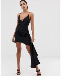 ASOS DESIGN Cami Mini Dress With Plunge Bodice And Drape Skirt Detail