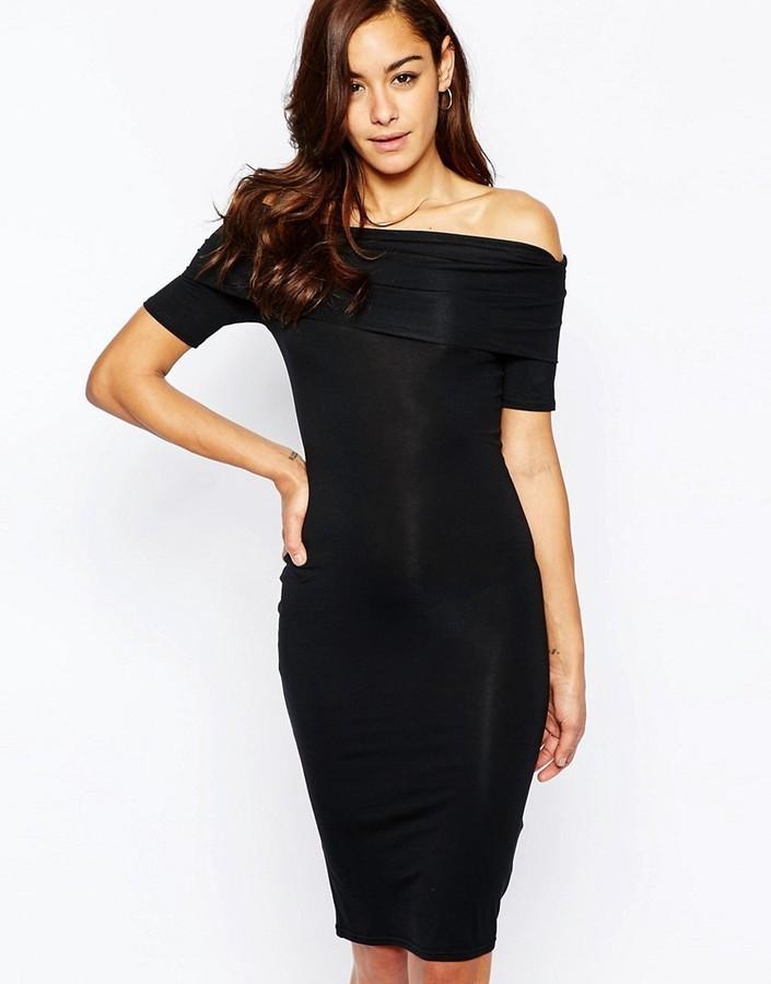 54f0abb587d4a ... Dresses Asos Collection Bardot Off Shoulder Midi Bodycon Dress ...