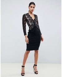 Rare London Bodycon Midi Dress With Scalloped In Black