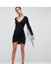 Flounce London Plunge Front Mini Dress With Dip Dye Tassels White