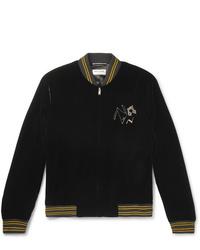 Saint Laurent Embellished Velour Bomber Jacket