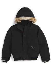 Canada Goose Rundle Down Bomber Jacket With Genuine Coyote Fur Trim