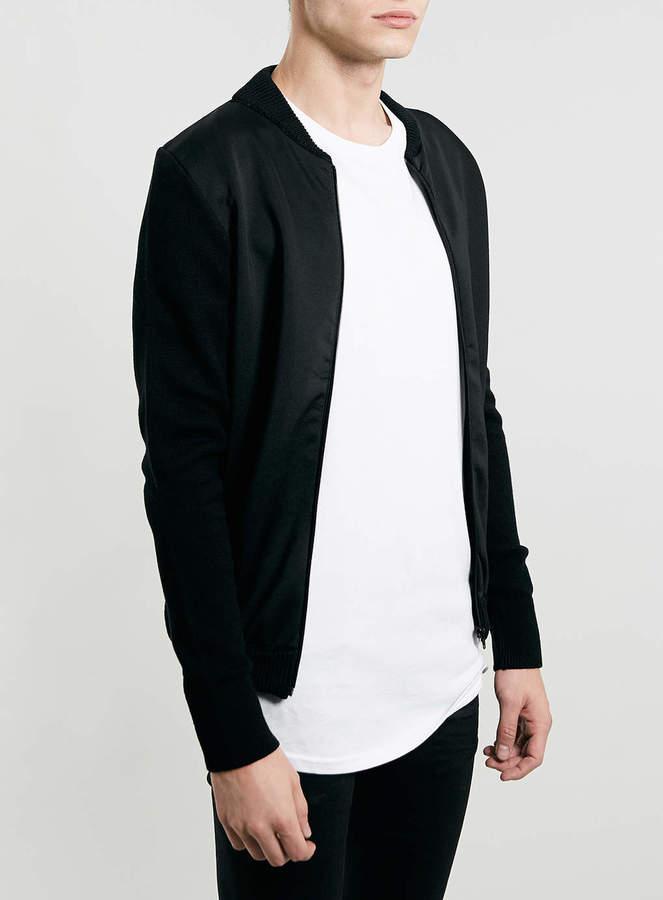 Topman Black Neoprene Panel Bomber   Where to buy & how to wear