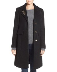 Eliza J Embellished Boucle Reefer Coat