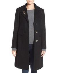 Embellished boucle reefer coat medium 399782