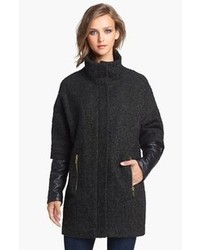 Vince Camuto Faux Leather Sleeve Boucle Tweed Coat X Small