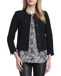 Grosgrain trim boucle jacket black medium 37051