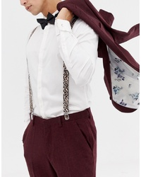 ASOS DESIGN Brace And Bow Tie Set In Black Leopard Print