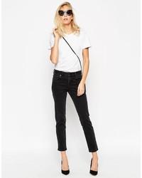 Asos Collection Kimmi Shrunken Boyfriend Jeans In Washed Black