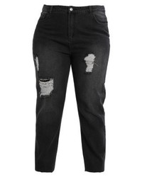 Daisy Street Plus Distressed Mom Jeans Relaxed Fit Jeans Black
