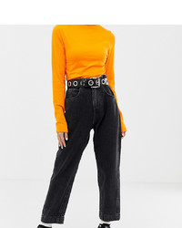 Collusion Petite Mom Jeans In Washed Black