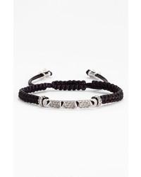 Vince Camuto Macrame Bracelet Black Silver Black Diamond