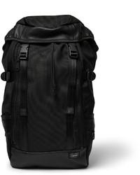 Porter Yoshida Co Leather Trimmed Woven Nylon Canvas Backpack
