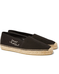 Saint Laurent Logo Embroidered Canvas Espadrilles
