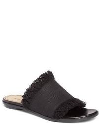 Black Canvas Flat Sandals