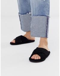 ASOS DESIGN Fin Premium Cross Rope Sliders In Black