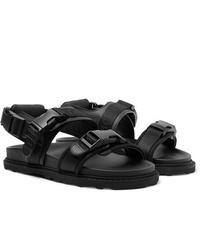 Bottega Veneta Webbing Trimmed Leather And Wool Sandals