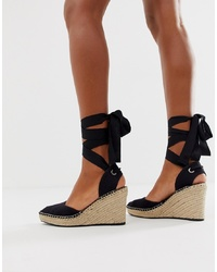 ASOS DESIGN Jaylen Espadrille Wedges In Black