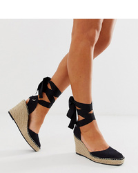 ASOS DESIGN Wide Fit Jaylen Espadrille Wedges In Black