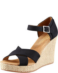 Black Canvas Wedge Sandals