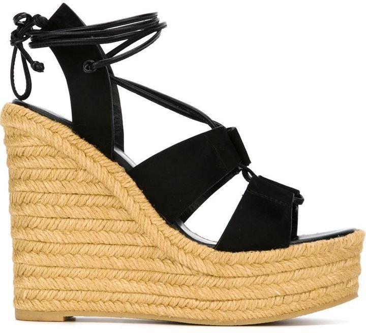 76749d1ecb2 Espadrille 95 Sandals. Black Canvas Wedge Sandals by Saint Laurent