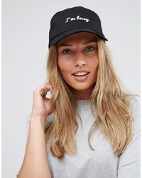 Asos Black Baseball Cap With Slogan