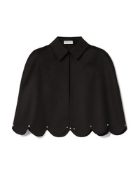 Valentino Studded Scalloped Wool And Cashmere Blend Cape