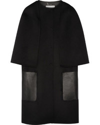 Fendi Leather Trimmed Wool Felt Coat Black