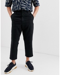 ASOS WHITE Cargo Trousers In Black Heavyweight Twill