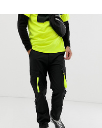 Reclaimed Vintage Revived Black Cargo Trousers With Neon Pullers