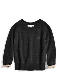 Burberry Girls Check Cuff Cashmere Sweater