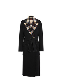 Burberry Check Lined Wool Cashmere Double Breasted Coat