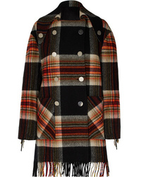 Calvin Klein 205W39nyc Pendleton Double Breasted Fringed Checked Wool Coat