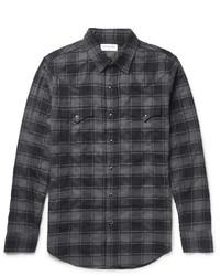 Slim fit checked stretch cotton flannel western shirt medium 1194651