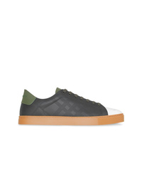 Burberry Perforated Check Leather Sneakers
