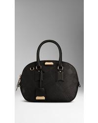 Black Check Leather Tote Bag
