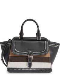 Medium harcourt check leather tote black medium 844720