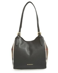 Small canter house check leather tote black medium 518378