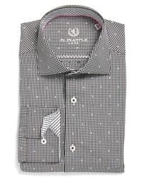 Bugatchi Trim Fit Dot Check Dress Shirt