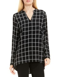 Vince Camuto Windowpane V Neck Tunic