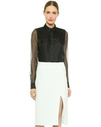 Jason Wu Organza Shirt With Lace Trim