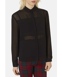 Topshop Paneled Chiffon Shirt Black 12
